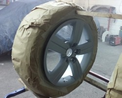 Audi alloy wheel ready for spraying