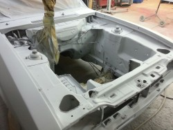 Engine bay primed and ready for spraying